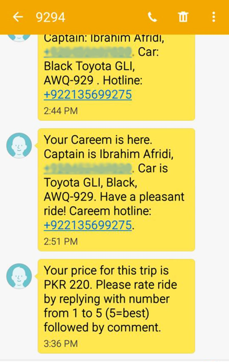 The service tells you the name and number of your driver as well as the license number of the car