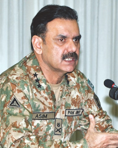 ISPR Director General Asim Bajwa pictured at the press conference.—White Star