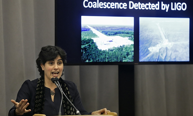 Nergis Mavalvala, speaks,Thursday, Feb. 11, 2016, about an experiment at the Laser Interferometer Gravitational-Wave Observatory, or LIGO. — AP