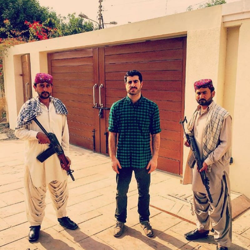 Afeef with the security guards. —Photo provided by author