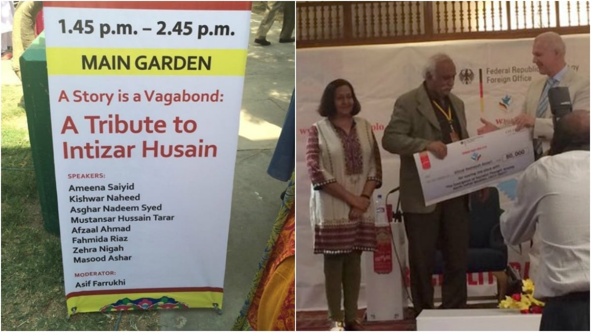 A special session arranged in memory of Intizar Husain (L) and the German Peace Prize ceremony (R)