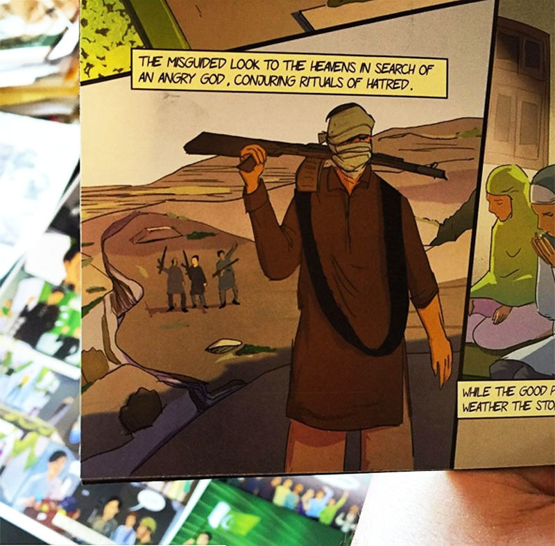 Afeef flipping through Gauher Aftab's comic books aimed at deradicalising Pakistan's kids.