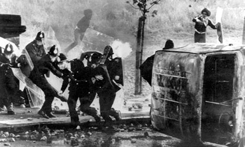 As the economy continued to nosedive, race riots erupted in England in the late 1970s.