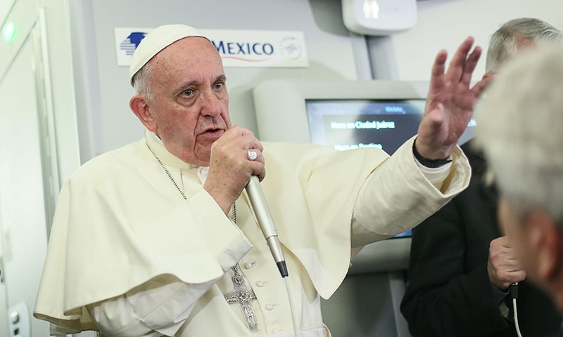 Pope Francis speaks to journalists aboard the flight from Mexico to Italy. ─AFP