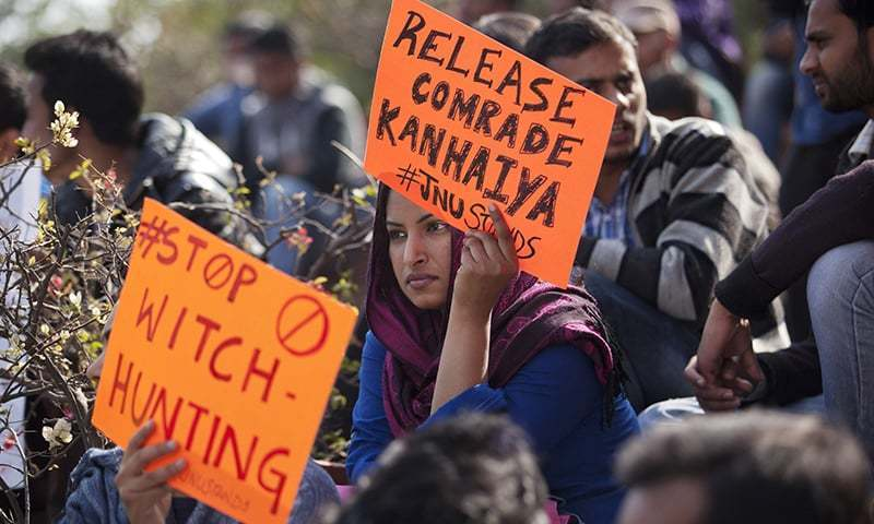 Thousands attend rally for JNU student leader