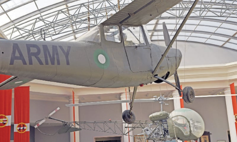 Fighter planes and helicopters used during the 1965 war are displayed in the museum's courtyard.