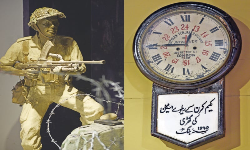A soldier wearing the ward dress and using a machine gun in the museum's Special Service Group gallery. / In 1965, Pakistani troops captured the Khem Karan Railway Station in the Amritsar district. The troops brought back the hall clock installed at the station to commemorate the victory. The clock was made in London, United Kingdom in 1897.