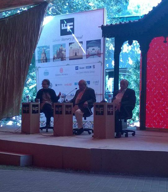 I A Rehman and A G Noorani at the 'Foundering Freedoms' session. —Photo Dawn