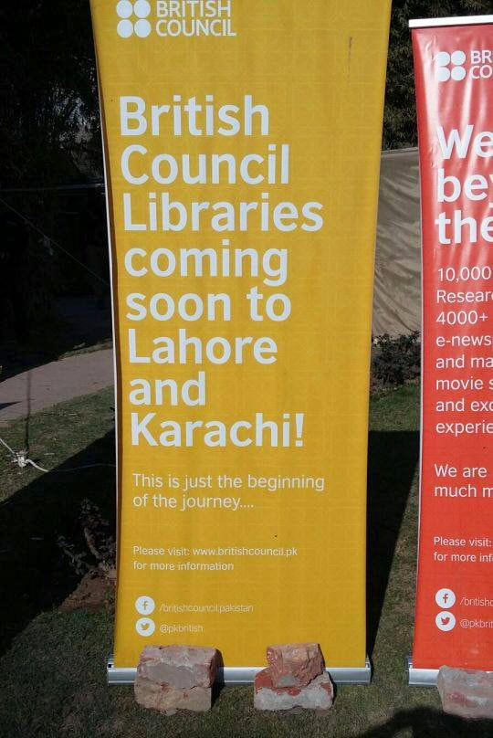 Spotted: British Council standees announcing new libraries in the two cities. This is definitely among our top highlights of the festival.