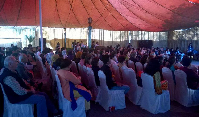 The packed hall during the Shakespeare session. Photo: Dawn