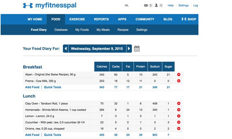 Calorie counting on MyFitnessPal. —Photo by author