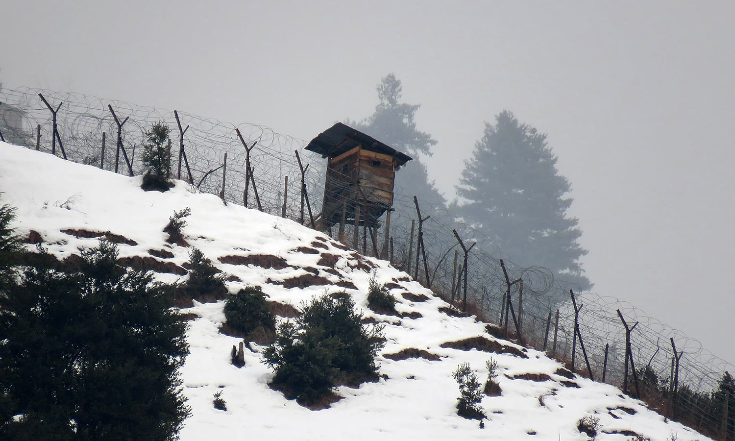 Indian security border post in Neelum Valley as seen from Pakistan-held Kashmir. ─ AFP