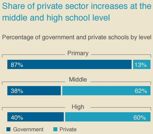 Public vs private schools at various levels of education. ─ Alif Ailaan