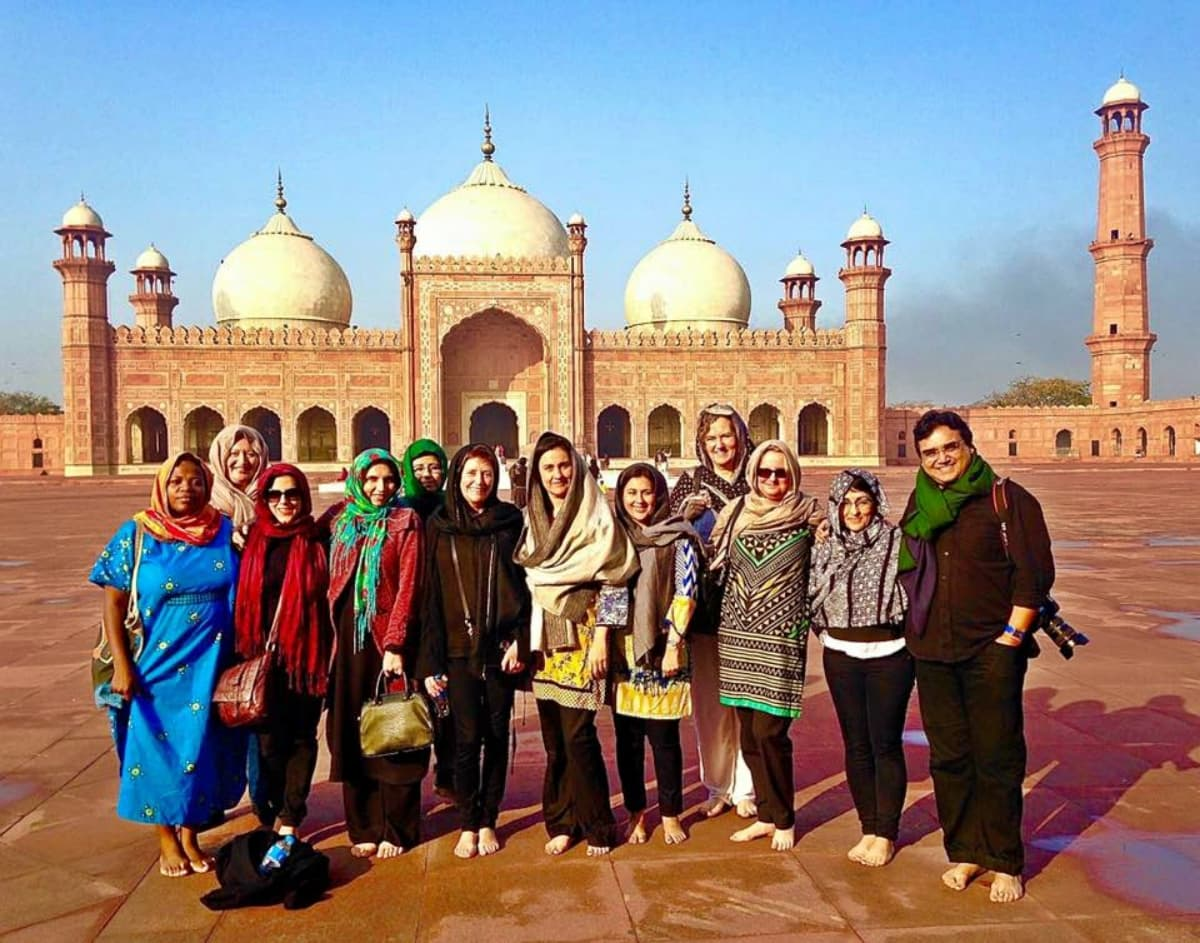 The foreign delegates, accompanied by Kamila Shamsie, at the Badshahi Masjid in Lahore - Photo courtesy LLF's Facebook page
