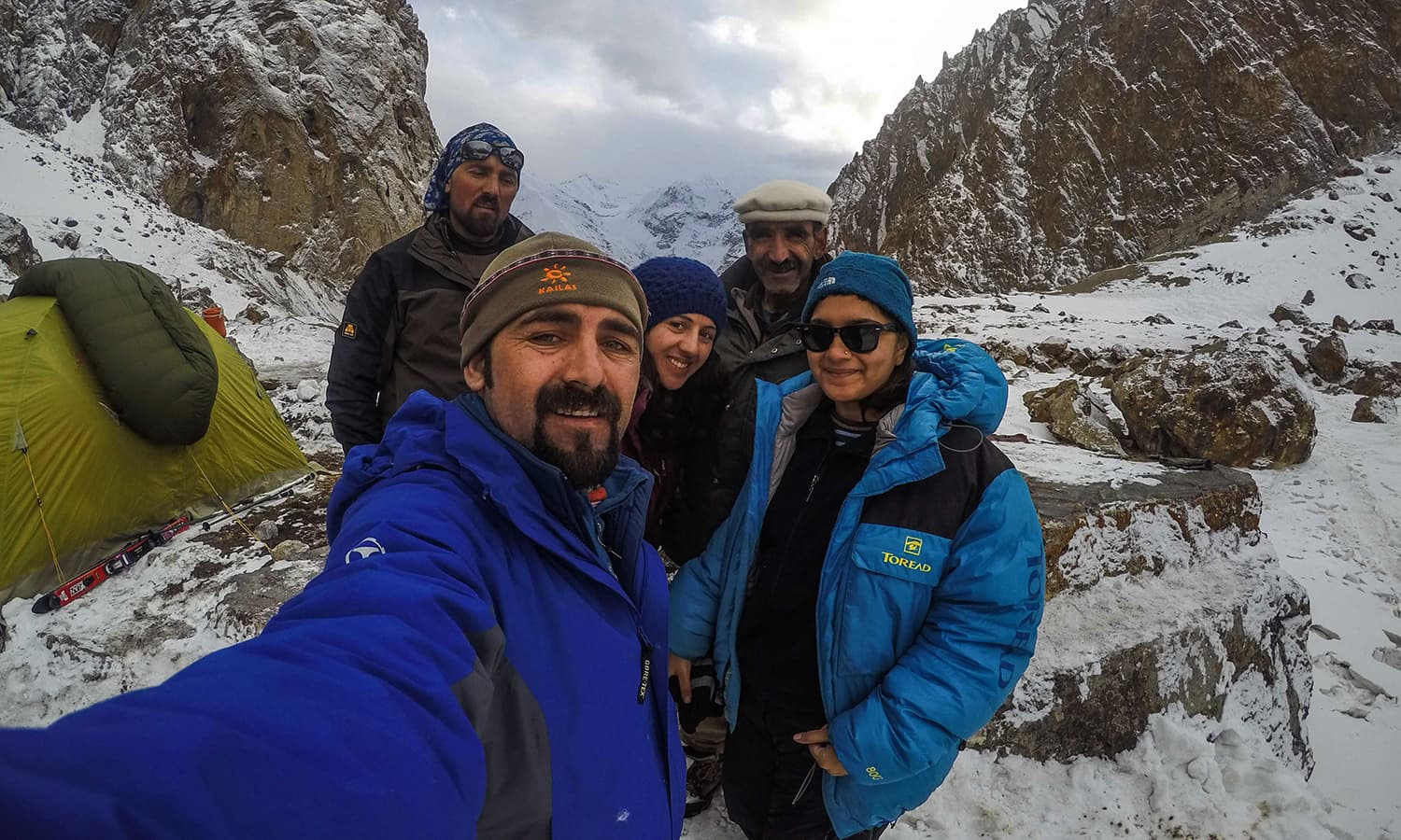 Selfie with Mirza and Samina Baig, their brother in the mountains and their uncle. — Photo by author