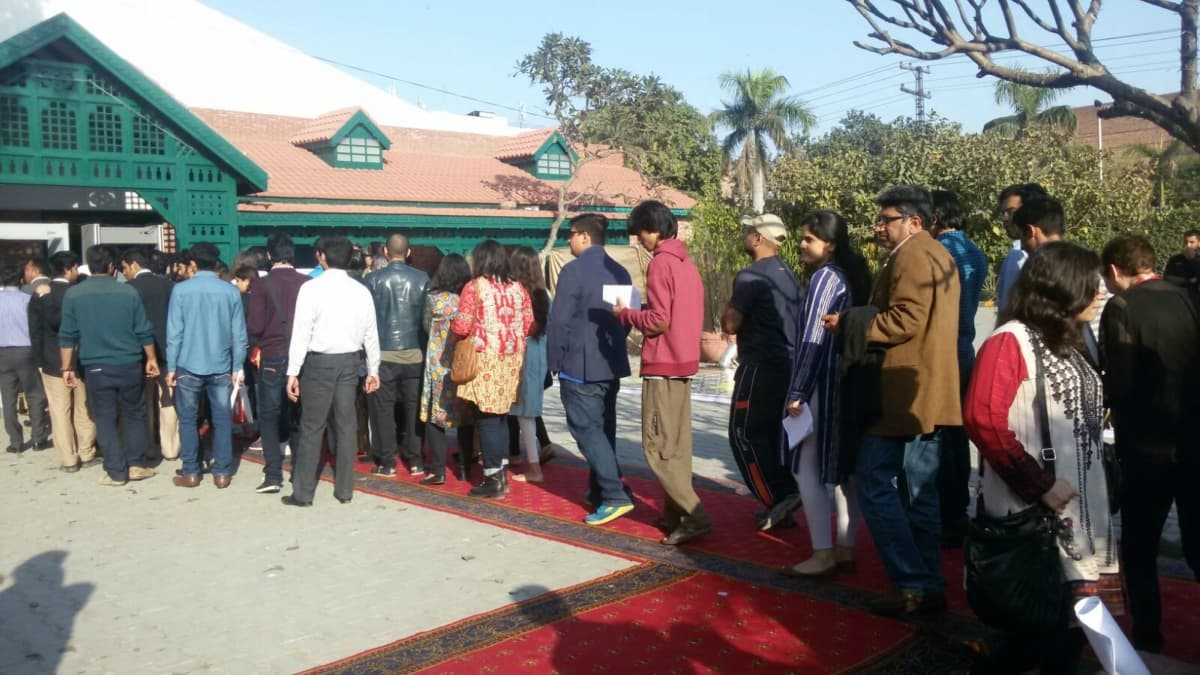 Long queues to get into LLF. Photo: Dawn