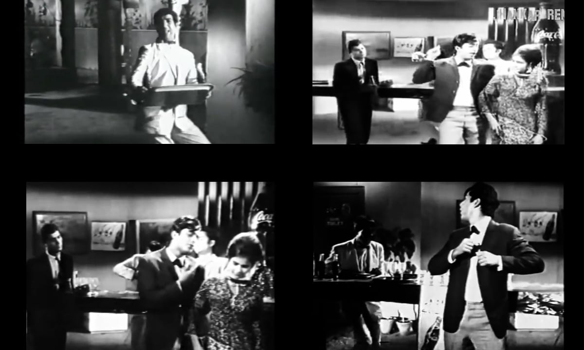 Film stills from the 1966 Waheed Murad starrer Armaan, showing the product placement of Coca Cola