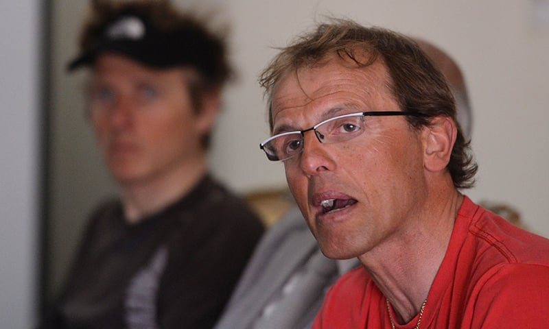 In this file photograph taken on March 6, 2014, Italian climber Simone Moro, one of the world's leading Alpinists, speaks to media in Islamabad.─AFP