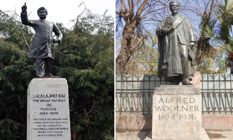 THIS statue of Lala Lajpat Rai, author and politician, stood on The Mall next to the iconic Kim's Gun. —Photo courtesy Raza Rumi's blog, Lahorenama / THE likeness of Alfred Woolner, outside the Punjab University's Old Campus, is the last remaining statue on public display in the city of Lahore. — Photo by Tariq Mahmood