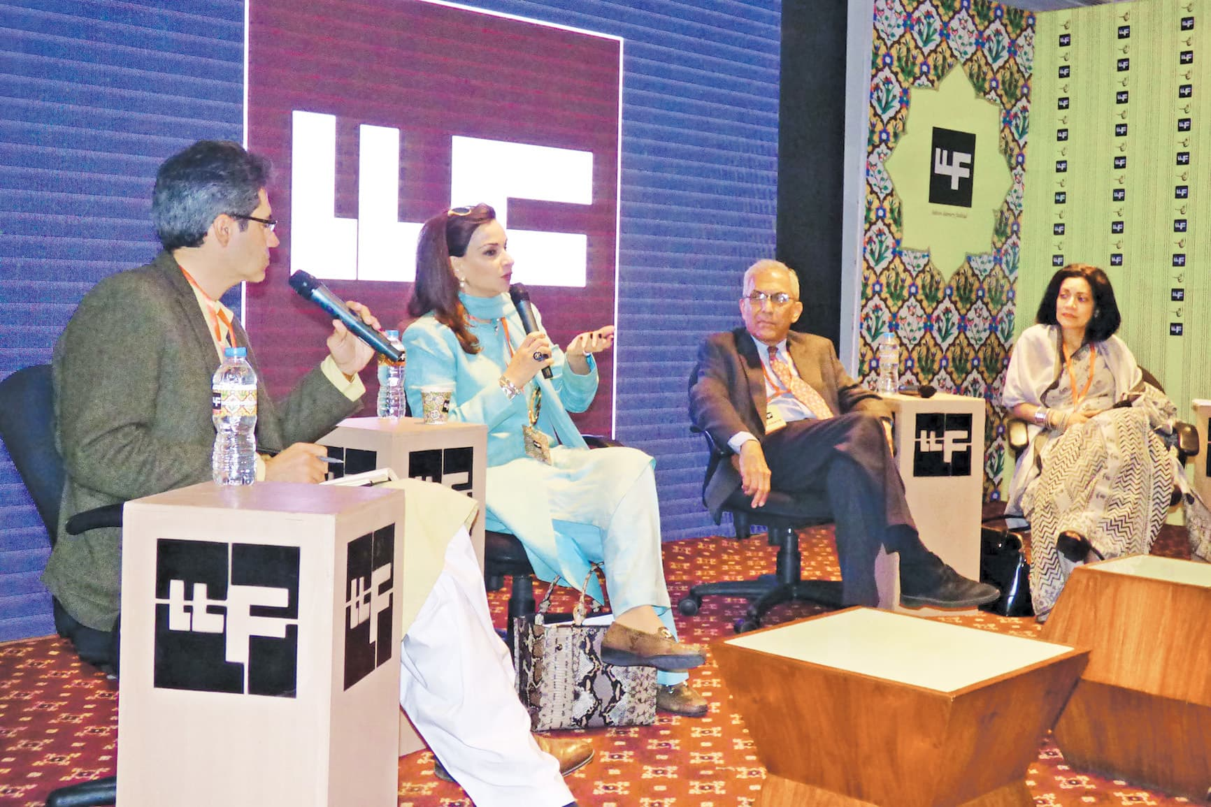(From left to right) Dr Kamal Munir, Sherry Rehman, Salman Haider and Dina Siddiqi at the session 'Lurching Rightwards: South Asia in the Balance' 	 — Azhar Jafri/White Star