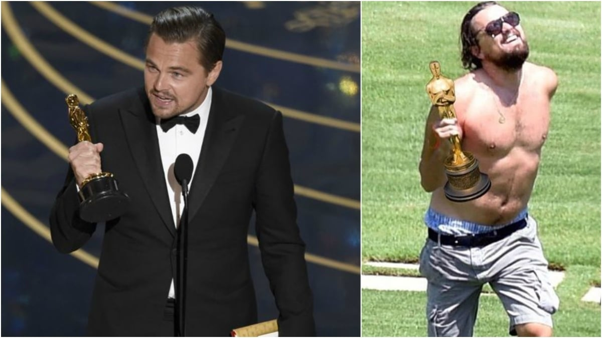 Leo finally wins his first Oscar and the internet explodes