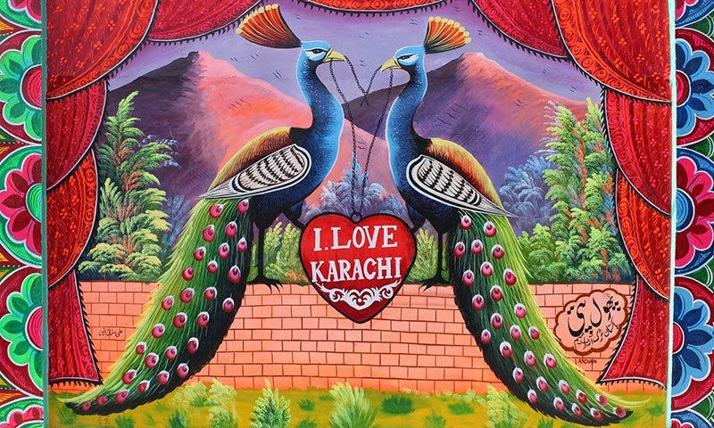 A painted wall in Karachi. —Photo by Hussain Ali