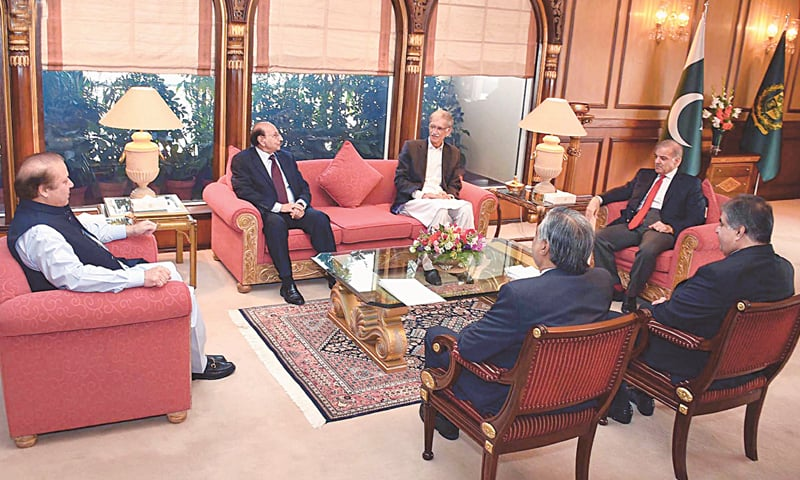 ISLAMABAD: Prime Minister Nawaz Sharif meets the four chief ministers and Finance Minister Ishaq Dar at the Prime Minister House on Monday.—INP