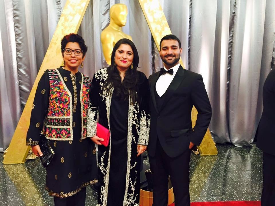 Haya Fatima Iqbal, Sharmeen Obaid-Chinoy and Asad Faruqi at the Oscars ceremony