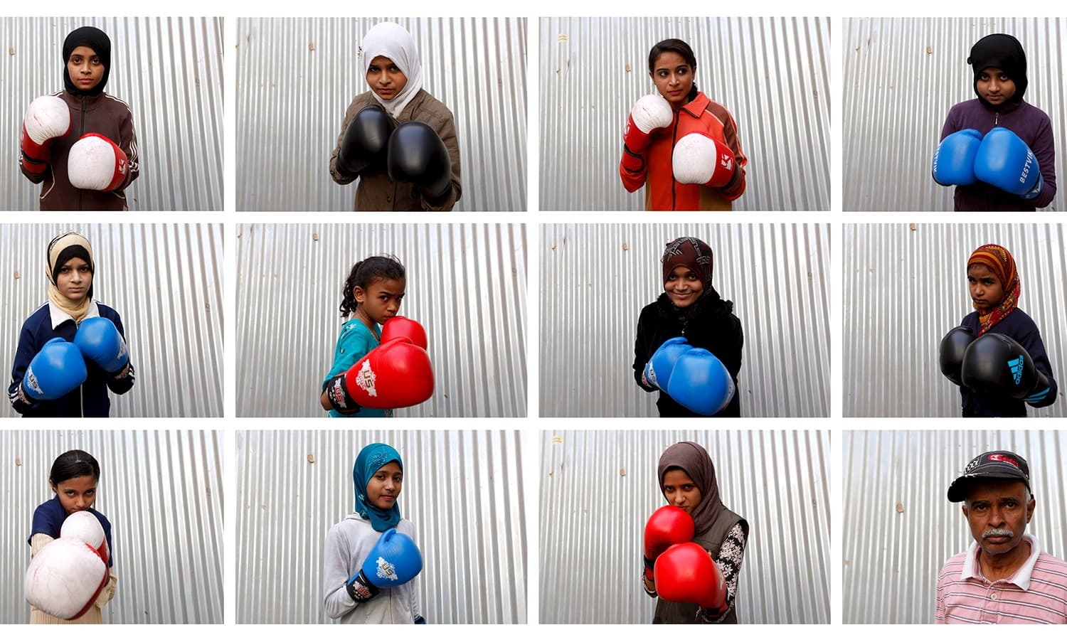 Students of coach Younus Qambrani posing with their boxing gloves at the first women's boxing coaching camp in Pak Shaheen Boxing Club in Lyari.— Reuters