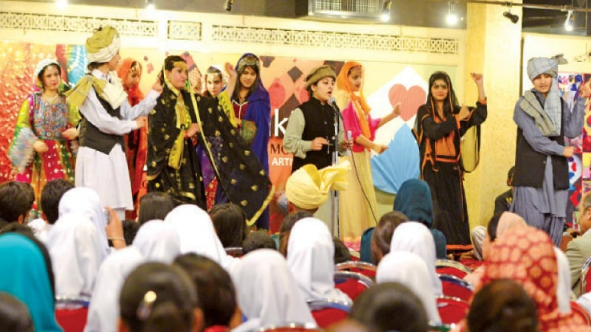 Students present a tableau at Lok Virsa - Photos by Khurram Amin