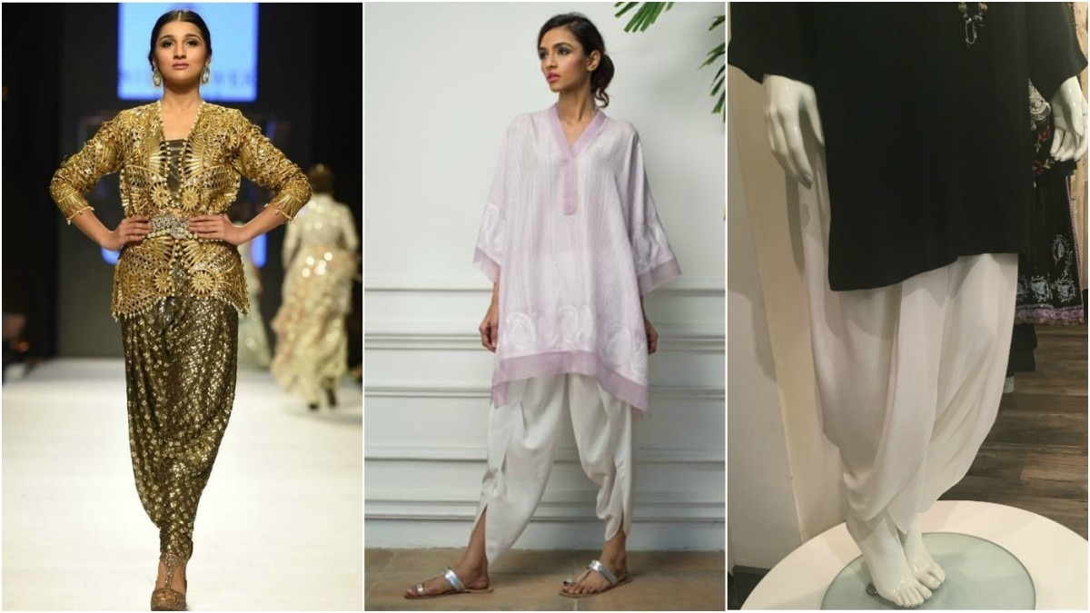 You can rock the shalwar formally, like Nida Azwer's design (L) or casually, like the ones available at Misha Lakhani (middle) or Menahel and Mehreen (R)