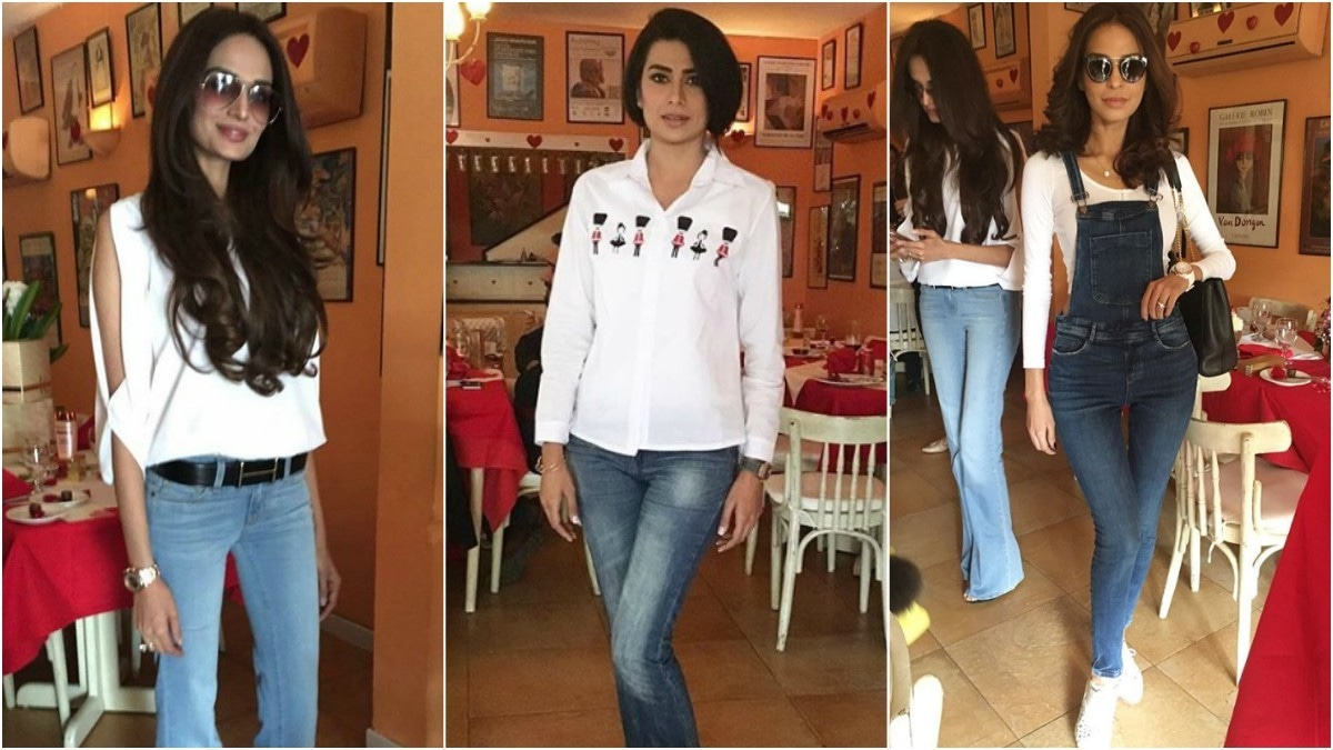 If you want to step it up a notch, pair a white tee with denim dungarees, like Fouzia Aman (L)