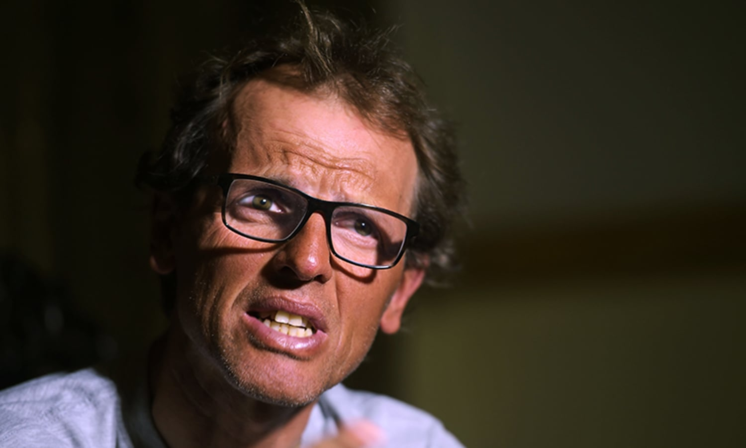 Italian climber Simone Moro, one of the world's leading alpinists, speaks with AFP during an interview in Islamabad.—AFP