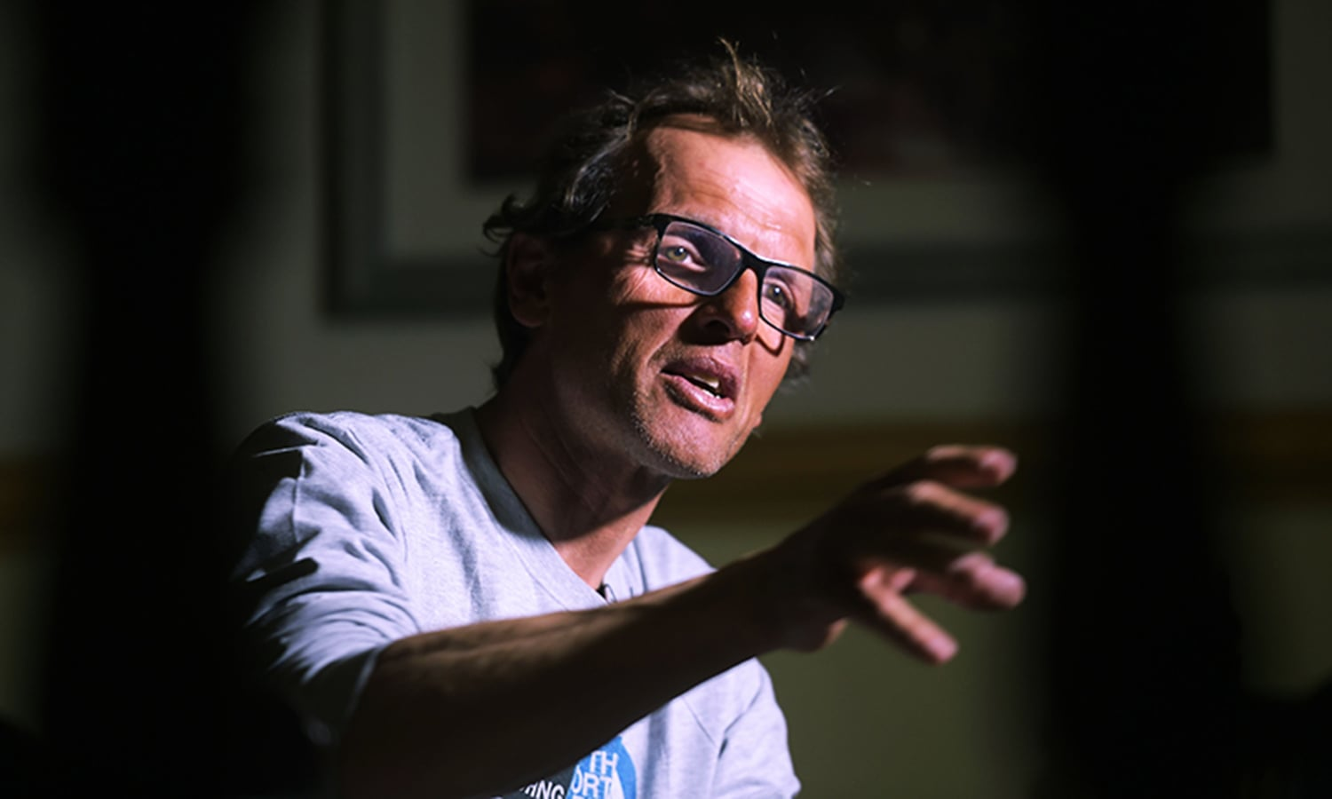 In this photograph taken on March 2, 2016, Italian climber Simone Moro, one of the world's leading alpinists, speaks with AFP during an interview in Islamabad.—AFP