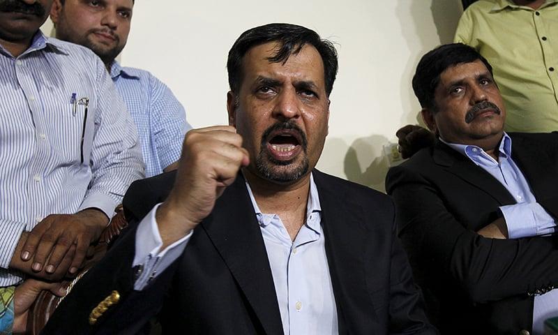 Syed Mustafa Kamal, former mayor of Karachi, gestures during a news conference in Karachi. -Reuters