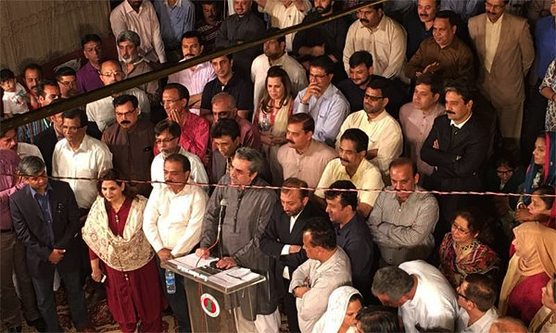 MQM leader Amir Khan addressing media during the party presser.─ Photo courtesy: MQM Twitter page