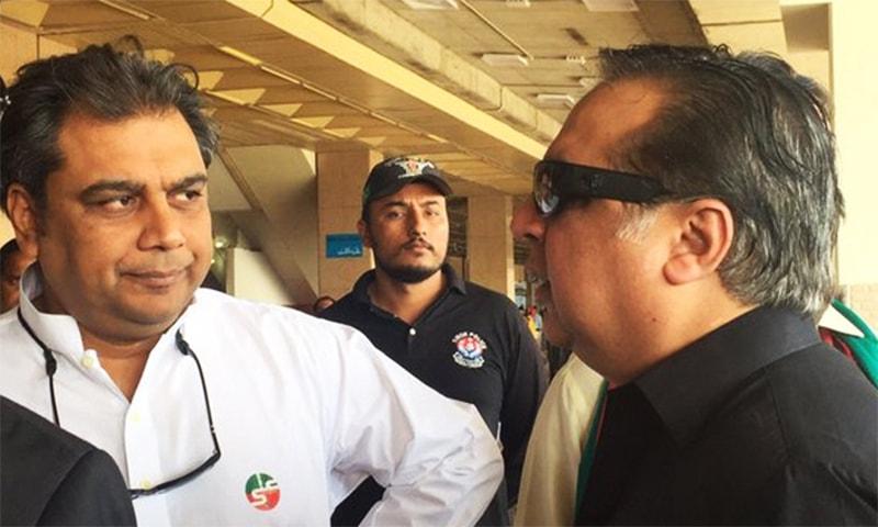 PTI Karachi President Ali Zaidi with fellow party leader Imran Ismail.─Photo: Twitter