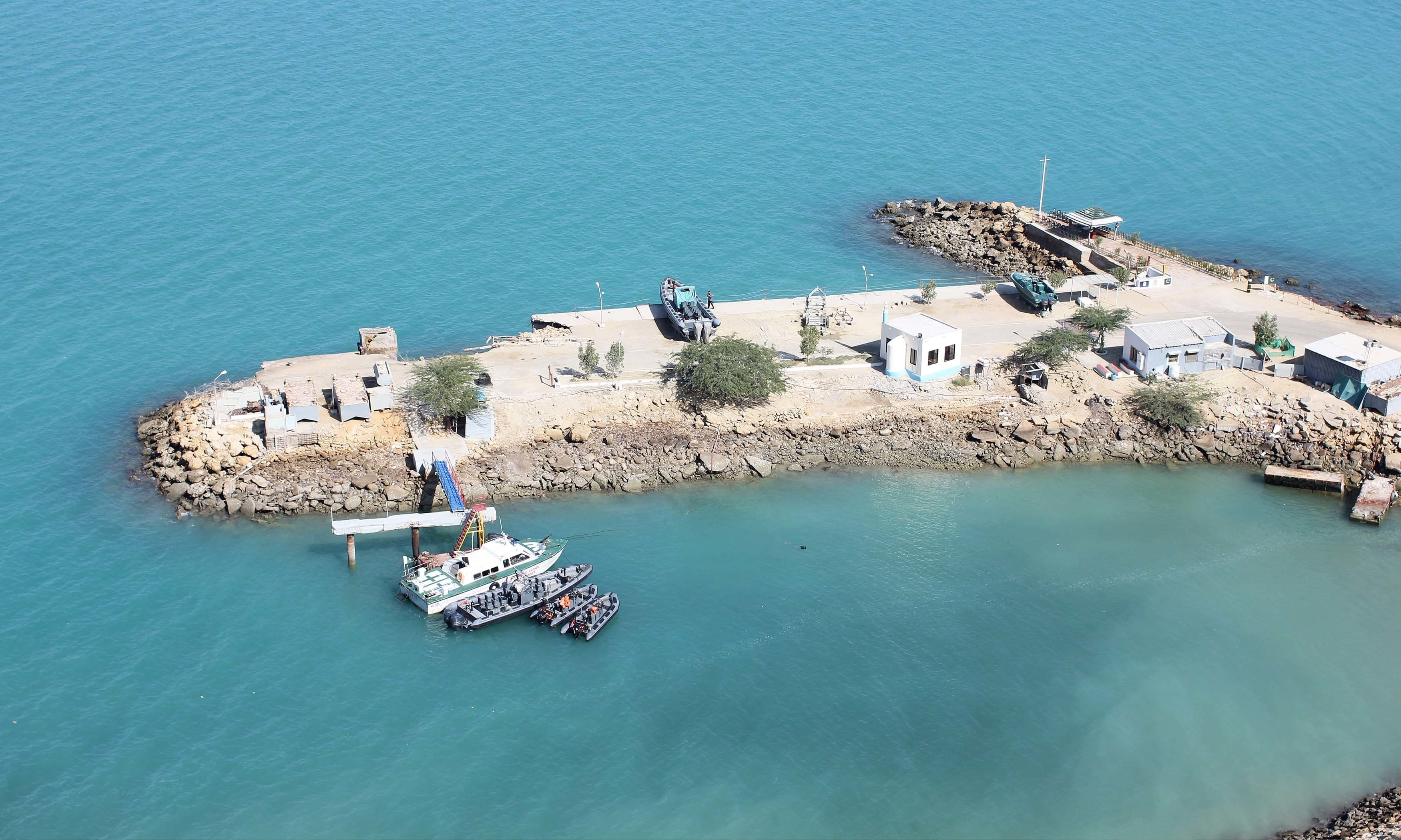 The PNS Akram jetty near Gwadar port manned by Pak Marines and Naval SSG.