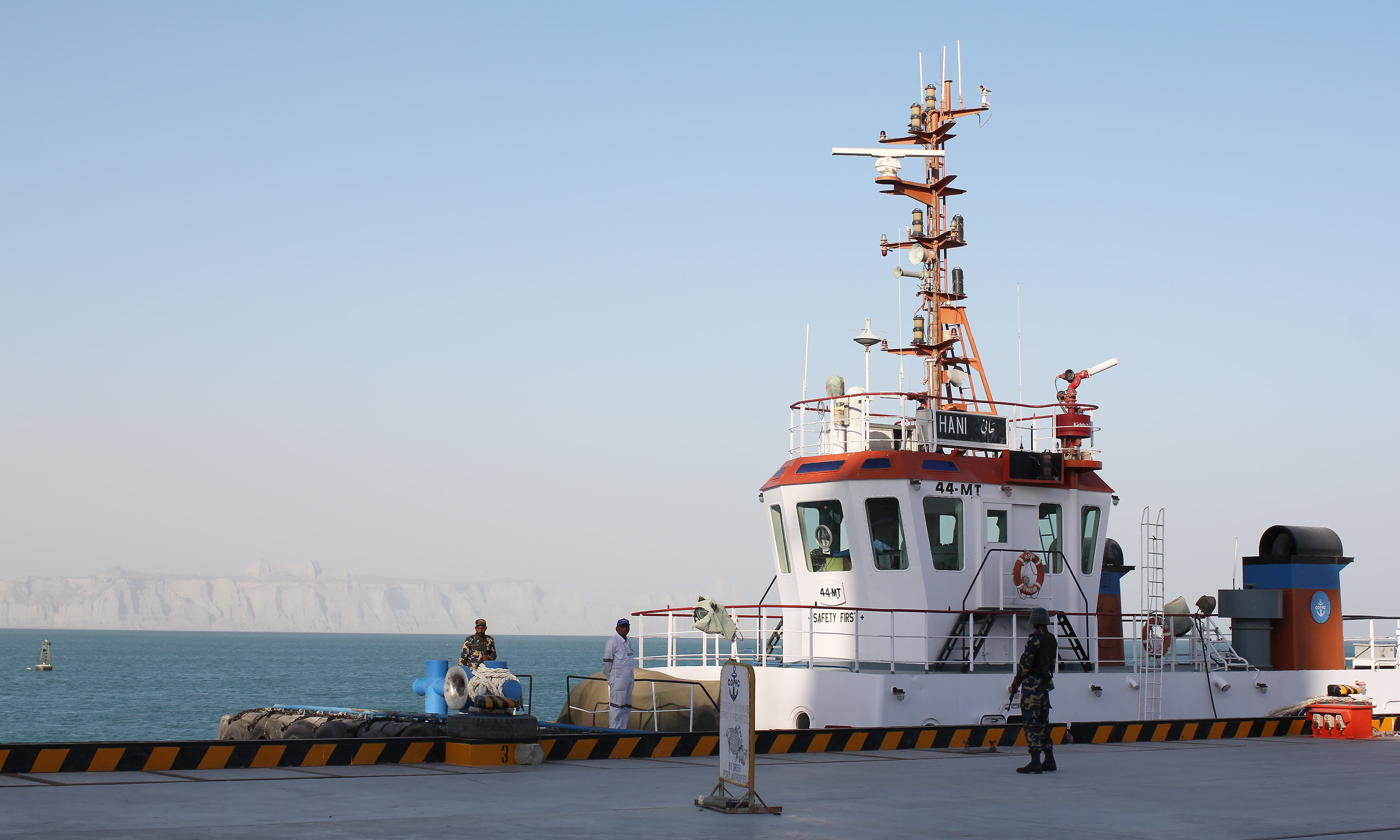 A naval ship docked at the Gwadar port.