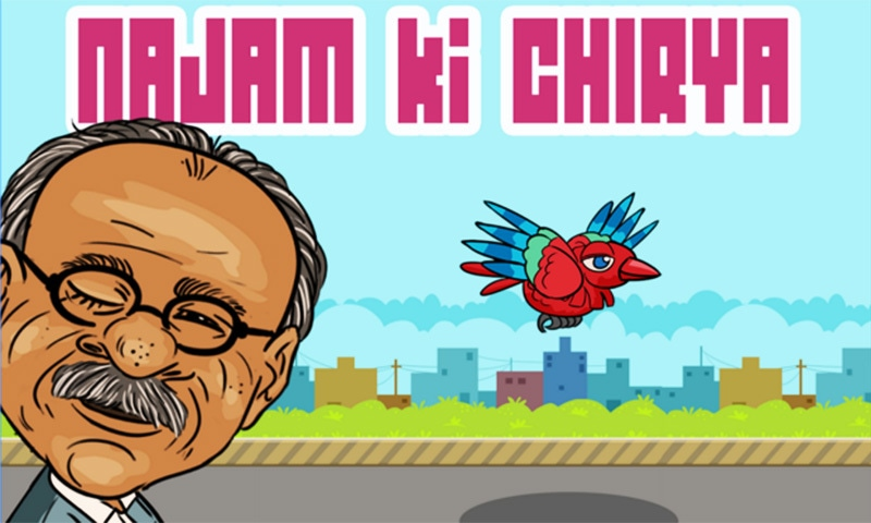 The central character of the satirical game, or 'Desi Flappy Bird' as some are calling it, is media mogul and former caretaker chief minister of Punjab Najam Sethi.