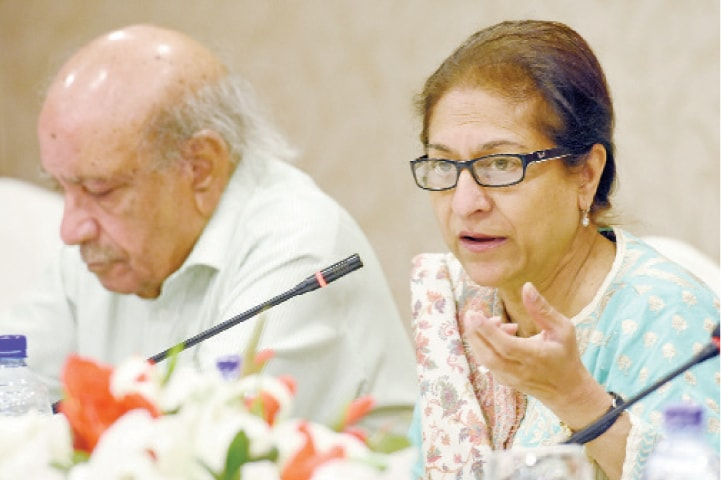 Activist Asma Jehangir speaks at the conference in Islamabad on Monday. HRCP's I.A. Rehman is also present. The other picture shows the Netherlands embassy first secretary Nanna Stolze speaking at the UN Information Centre roundtable. — Photos by Tanveer Shahzad & Sara Farid