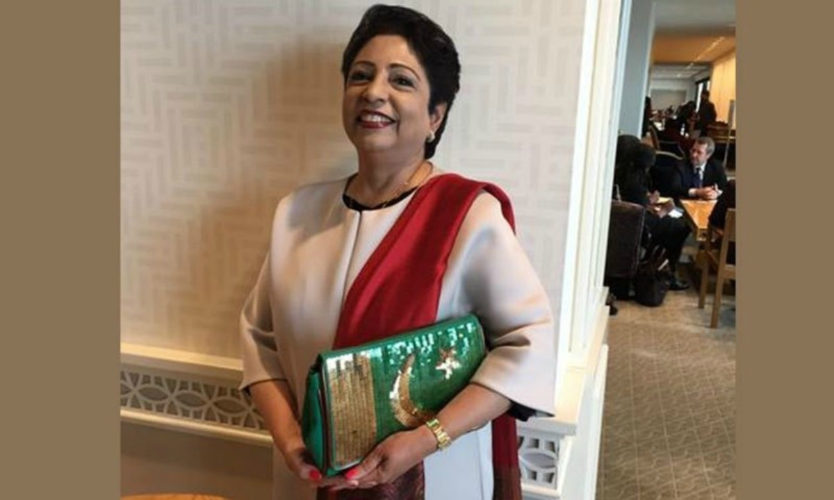 Maleeha Lodhi sported a flamboyant sequinned handbag to the UN