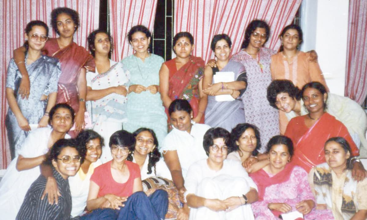 Nighat Said Khan in the front row (centre) with members of South Asian Women Unite, Bangladesh, 1986 | Courtesy Nighat Said Khan