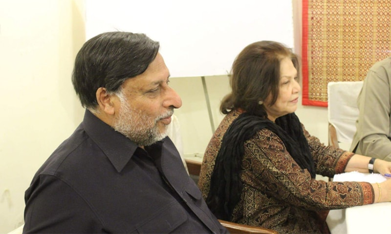 NCHR members addressing journalists in Thar press club. ─Photo by author