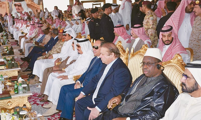 RIYADH: Prime Minister Nawaz Sharif, King Salman bin Abdul Aziz and leaders of other countries witness the closing moments of  the 'North Thunder' military exercises on Thursday.—INP