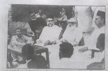 Islamic scholar and founder of the Jamat-i-Islami, Abul Ala Maududi, holding a press conference in 1974.