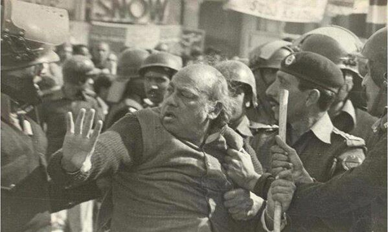 Popular revolutionary poet, Habib Jalib, being manhandled by the police during an anti-Zia rally in Lahore in 1981.
