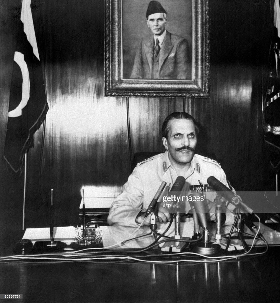 Ziaul Haq addressing the country on TV and radio after imposing the country's third Martial Law in July 1977.
