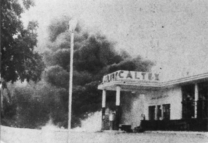 A petrol pump in Karachi goes up in flames during anti-Ayub riots in 1968.