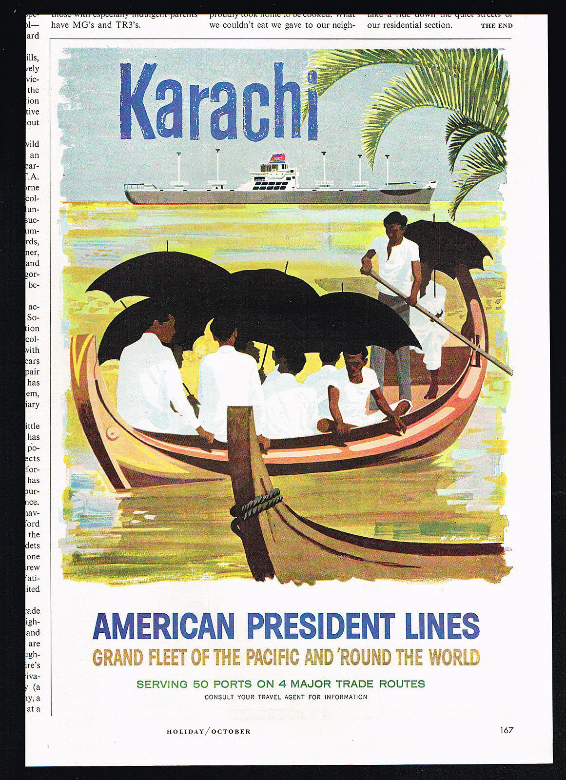 A 1957 ad in an American magazine for a US luxury line offering Karachi as a tourist destination.